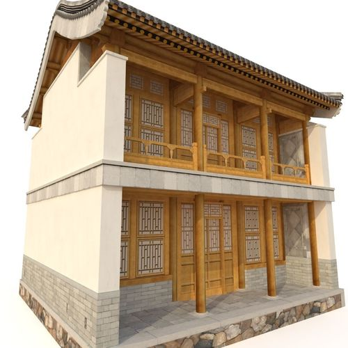 3d chinese two storey building 3d model low-poly max obj mtl 3ds fbx 1