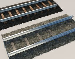Old and New Railroad Tracks Tileable 3D models trains
