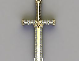 3D print model blade sword diamond pendent necklaces