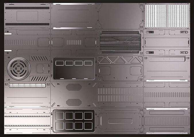 3d Sci Fi Panels Kitbash 02 Cgtrader