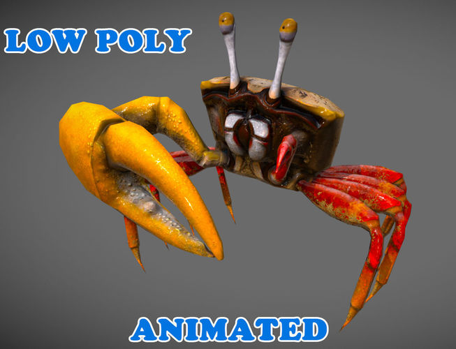low poly crab 3d model - animated 3d model low-poly max obj mtl 3ds fbx 1