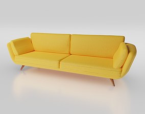 yellow couch 3D asset game-ready