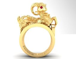 568 Lucky Gold Goat Ring 3D printable model