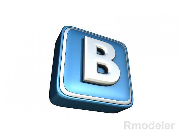 vkontakte letter 3d logo 3d model ma mb dae 1