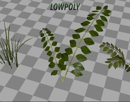 3D asset Lowpoly Grass And Plant