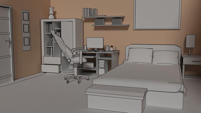 bedroom 3d model obj mtl fbx blend 1