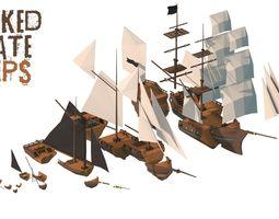 3D asset Wrecked Pirate Ships