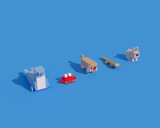 low poly animals seal crab rabbit 3d model max obj mtl fbx c4d ma mb blend 1