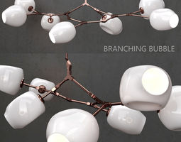 Branching bubble 7 lamp by Lindsey Adelman MILK COPPER 3D