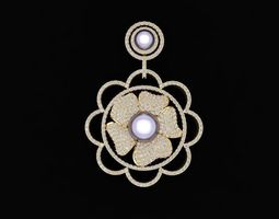 576 Diamond Flower Pendant 3D printable model