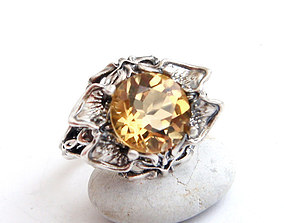 Ring with a round stone printable jewelry model