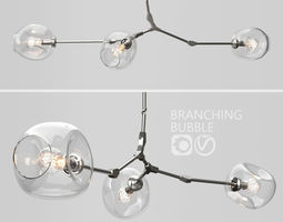 Branching bubble 3 lamps 2 CLEAR SILVER 3D