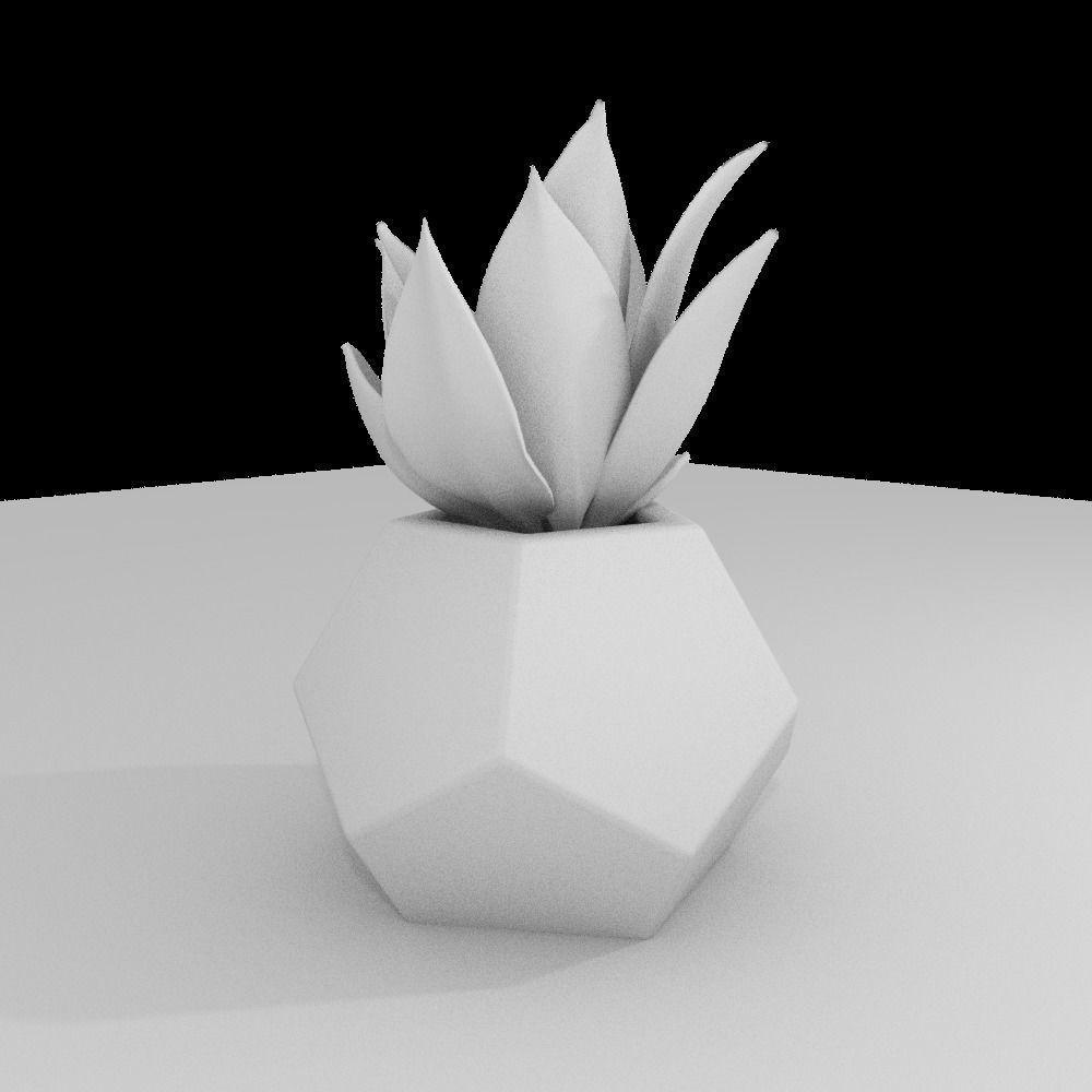 Dodekaeder Concrete Potted Cactus