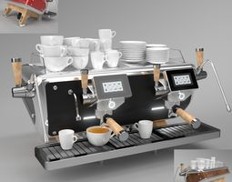 Astoria Coffee Machine Storm 2 group set Blender Cycles 3D