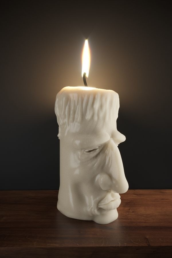Old cream candle