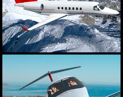 3D model Private Jet With Cockpit And Cabin Interior