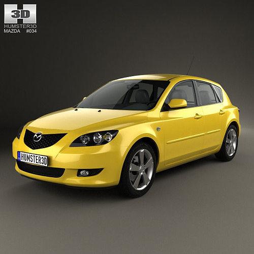 mazda 3 hatchback 2003 3d model max obj 3ds fbx c4d lwo lw lws 1