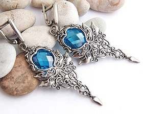 Fantasy earrings with stones printable jewelry model
