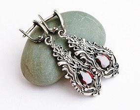 Dangle earrings with stones printable jewelry model
