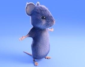 Mouse - Cartoon style - Grey fur 3D asset