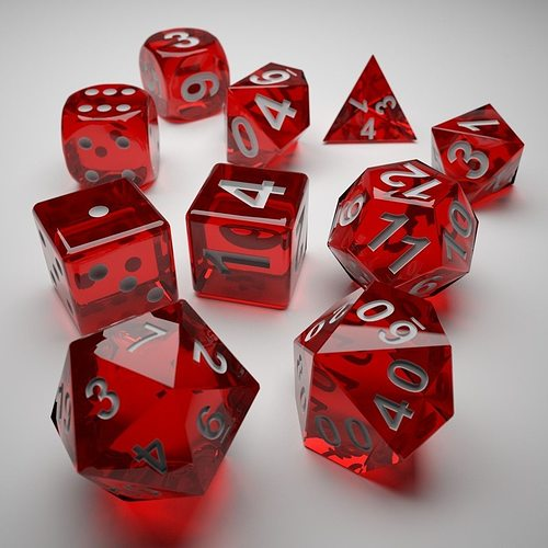 role playing dice - complete set - 3d print ready 3d model max obj mtl 3ds fbx stl 1