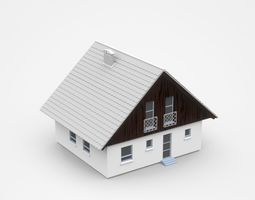Two-storey Light House With Gable Roof Shape 3D model
