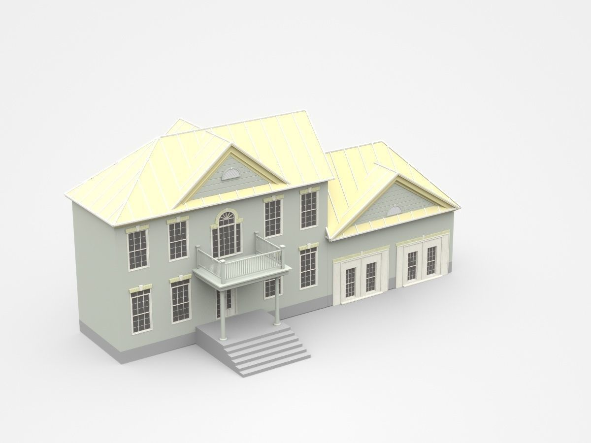 Classic Two Storey House With Porch And Balcony 3d Model