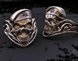 3d printable model skull soldier ring