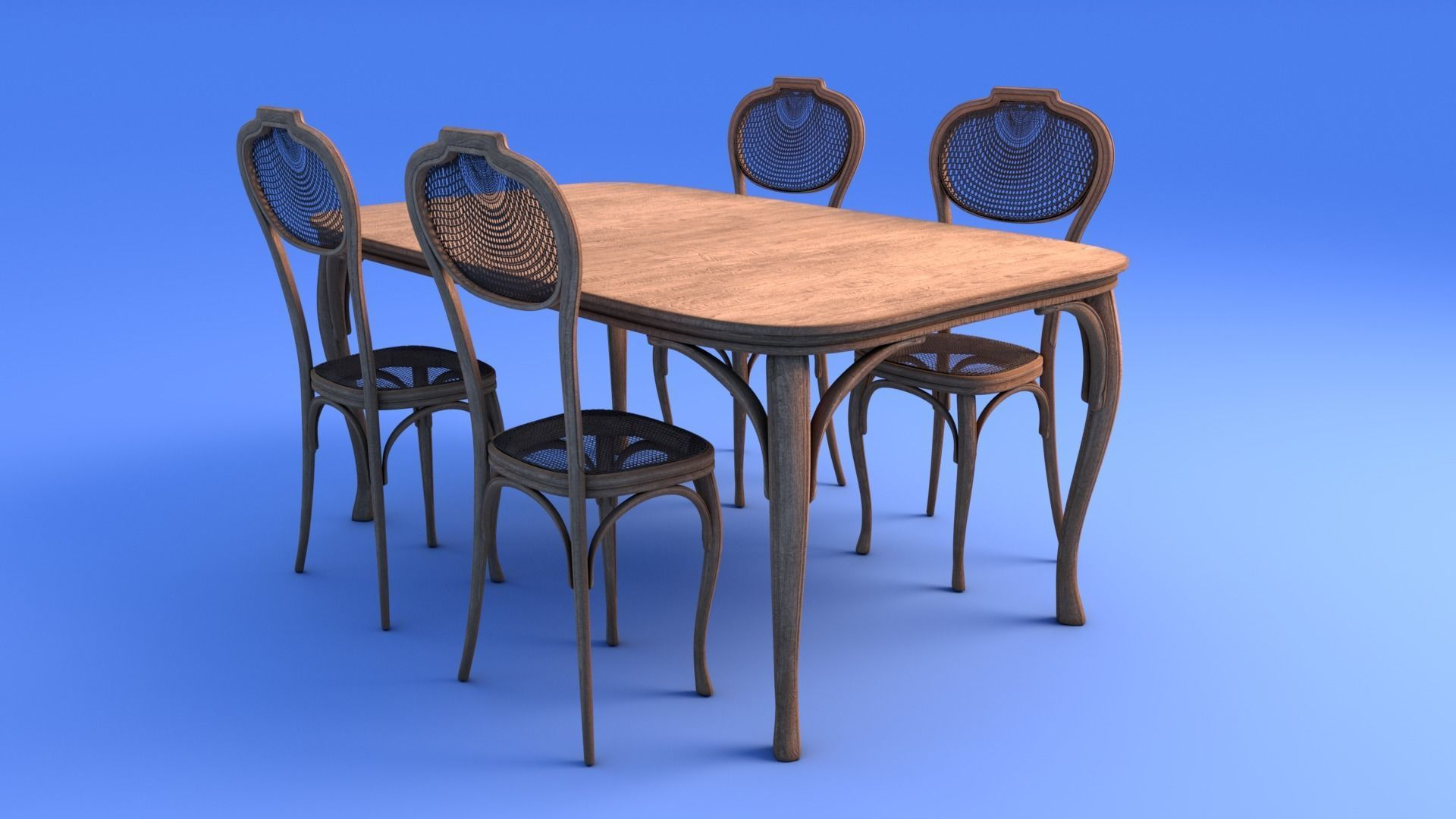Amazing Art Nouveau Dining Table And Chairs 3D Model Home Interior And Landscaping Staixmapetitesourisinfo