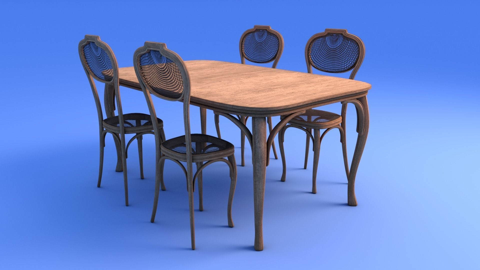 Art Nouveau Dining Table And Chairs 3D Model