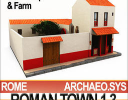 Roman Town Wine Shop And Farm 1 3 Low Poly 3D Model
