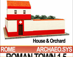 Roman Town House And Orchard Block 1 5 Low Poly 3D Model