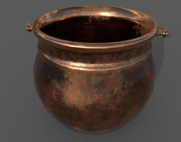 Medieval Copper Cooking Pot 3D asset