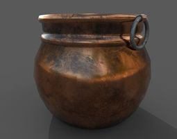 3D model Medieval Copper Cooking Pot