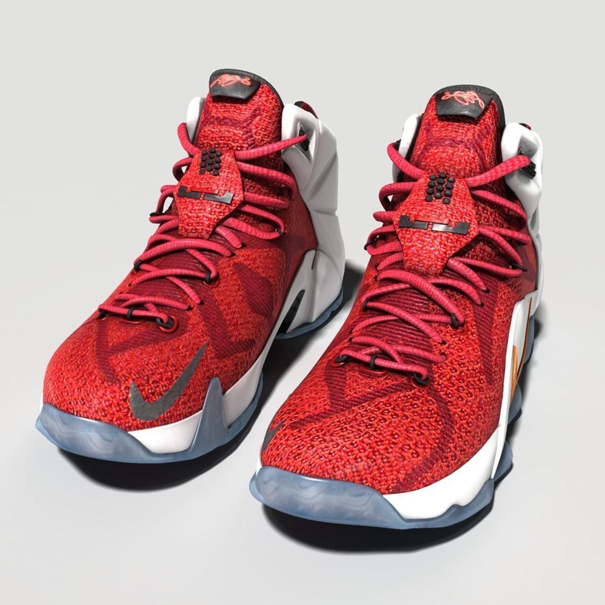 New Lebron James 12 Shoes 3D Model .obj .fbx .ma .mb ...