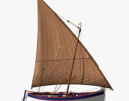 3D asset Spanish Shell Fishing Sail Boat
