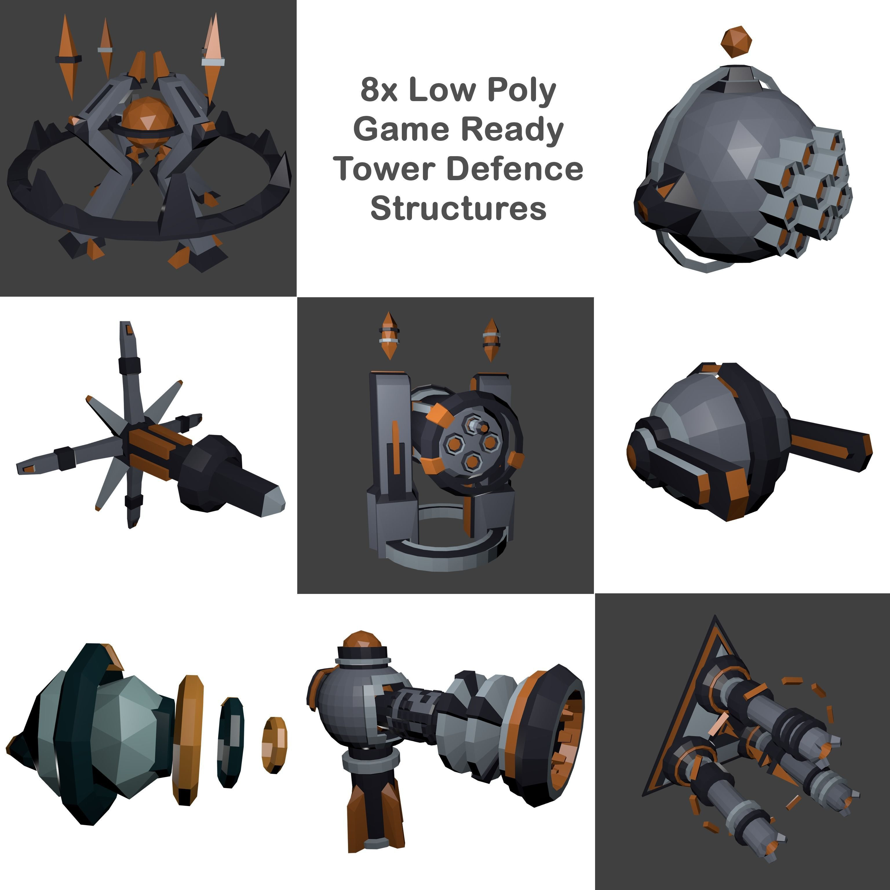 8x Low-Poly Tower Defence Models and Base - Game ready