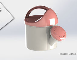 3D printable model watering can with molds ready for