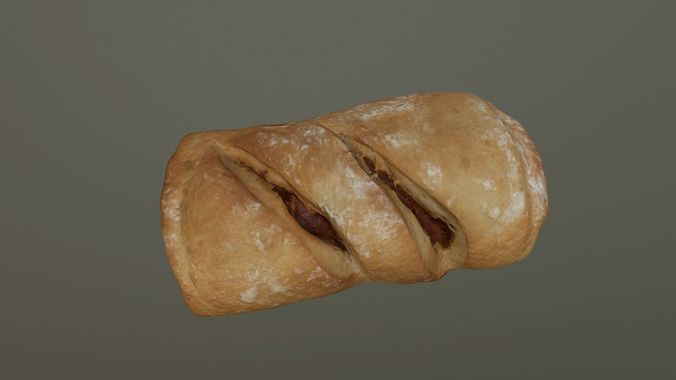 chorizo - bacon bread 3d model low-poly obj mtl 3ds fbx 1
