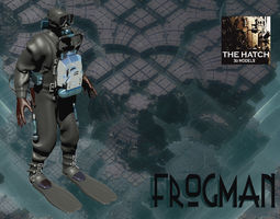 3D model rigged Military frogman