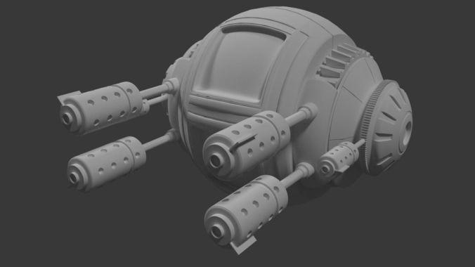 scifi robotic pod 3d model 3ds fbx blend dae x3d 1