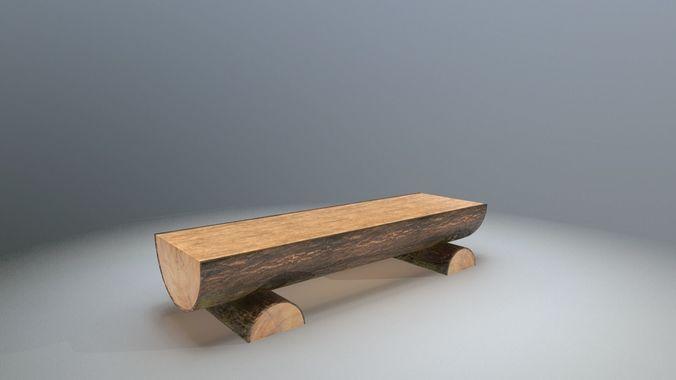 rough wooden bench 3d model obj mtl fbx 1