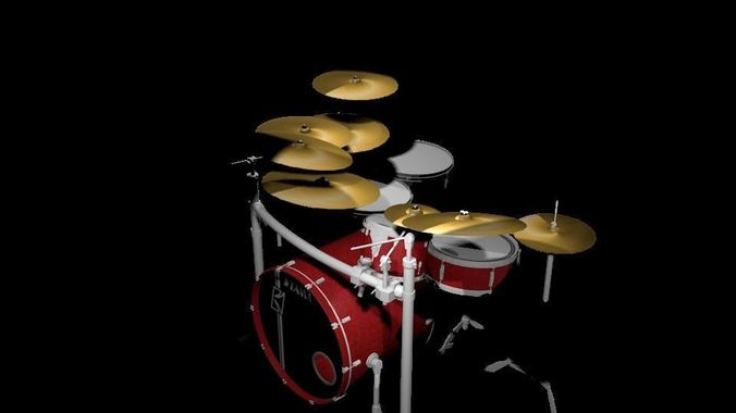 Tama Red Drum Set 3d Cgtrader