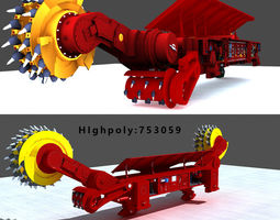 3D model low-poly Coal Mining Machine