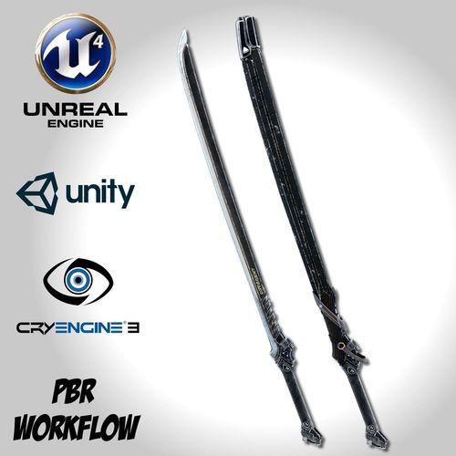 dark long blade - remake 3d model fbx unitypackage prefab uasset 1