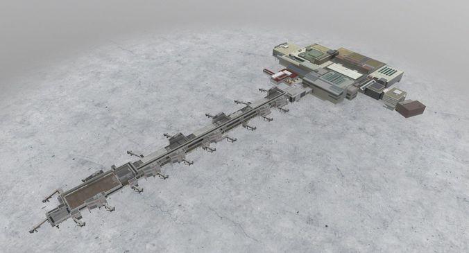 egkk south terminal 3d model low-poly max obj mtl 3ds fbx 1