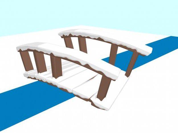3d Model Cartoon Snow Covered Bridge Cgtrader