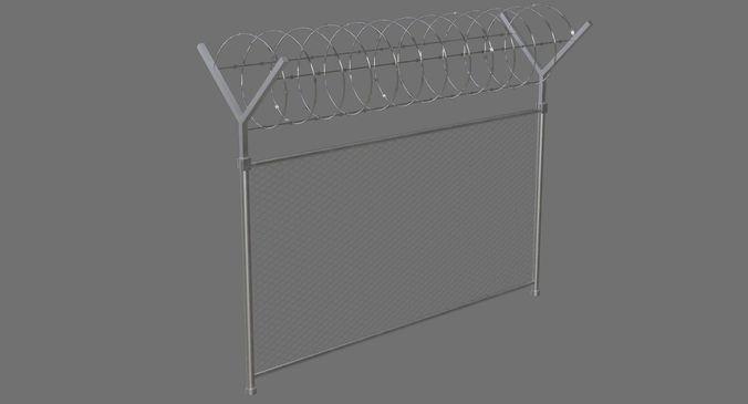 barbed wire fence 1a 3d model low-poly obj mtl fbx blend 1