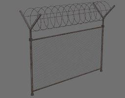 3D model game-ready Barbed Wire Fence 1B