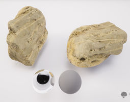 3D asset River rock 009 - Photogrammetry